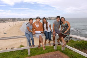 Photo. Stus sitting at lookout at Bondi Beach (APC)