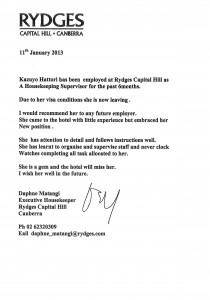 9. Reference Letter from Rydges Capital Hill Kazuyo Hattori